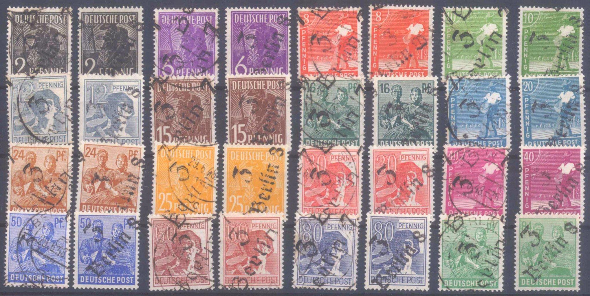 Sowjetische Zone, 166-181, ** und gestempelt