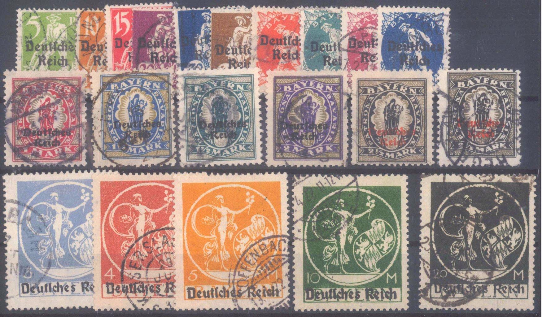Deutsches Reich, Michel 119-138 I, gestempelt