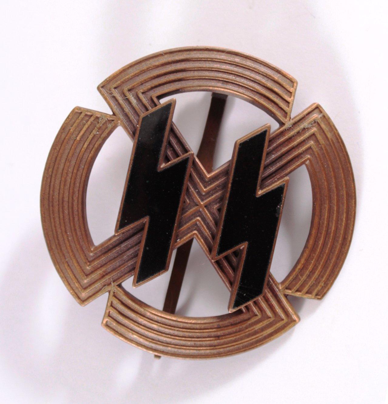 Germanische Leistungsrune SS in Bronze, Sammleranfertigung
