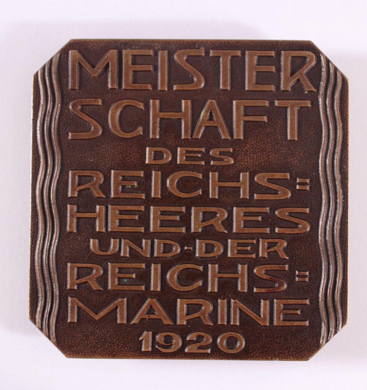 Bronzeplakette 1. Preis von 1920-1