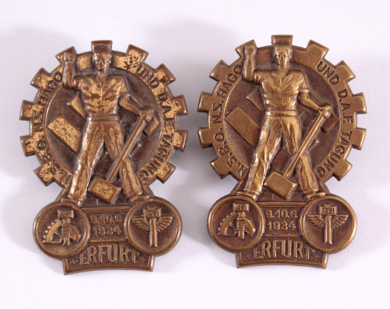 2 Abzeichen N.S.B.O., N.S.Hago und D.A.F. Tagung Erfurt 1934