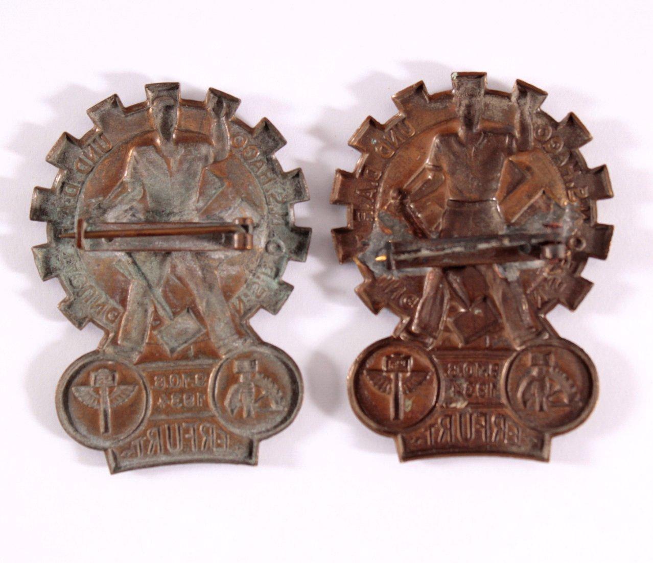 2 Abzeichen N.S.B.O., N.S.Hago und D.A.F. Tagung Erfurt 1934-1