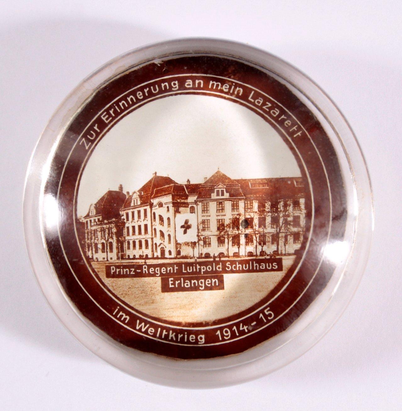 Glas Paperweight Zur Erinnerung an mein Lazarett, Erlangen