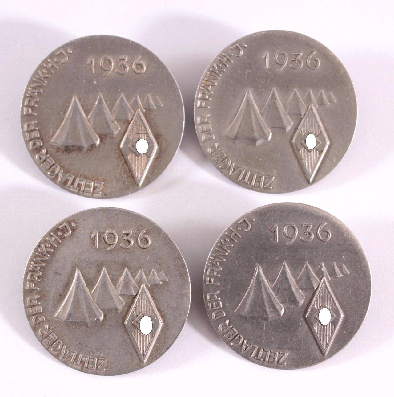 4 Abzeichen Zeltlager der fränkischen HJ 1936