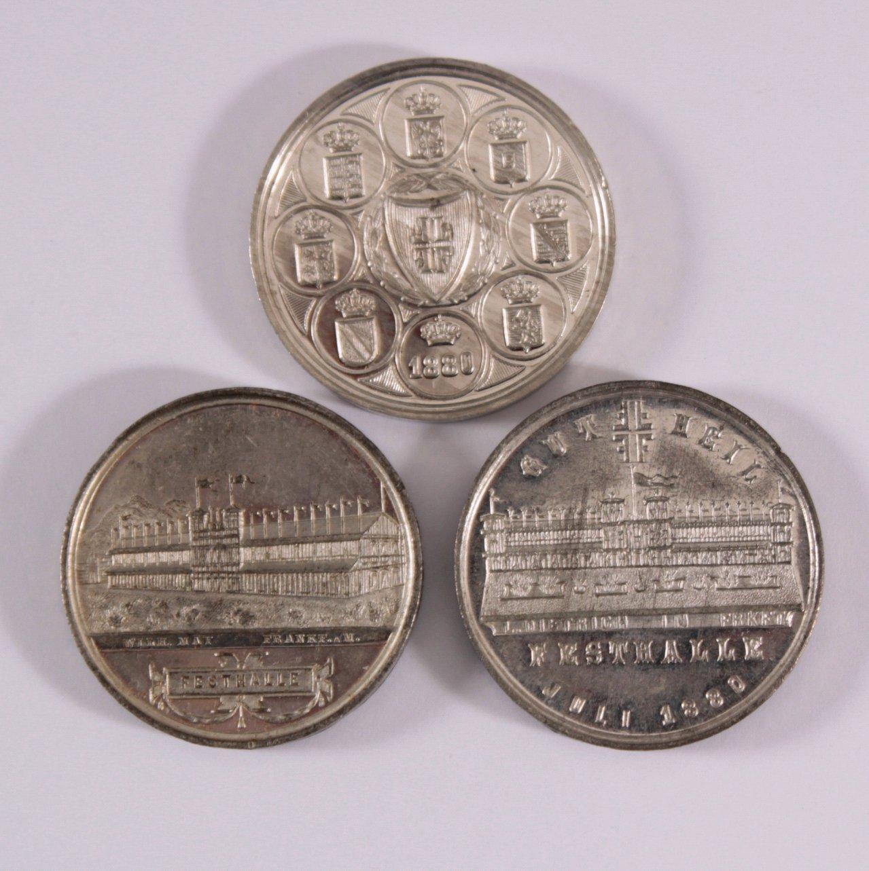 3 Medaillen Allgemeines Turnfest Frankfurt 1880
