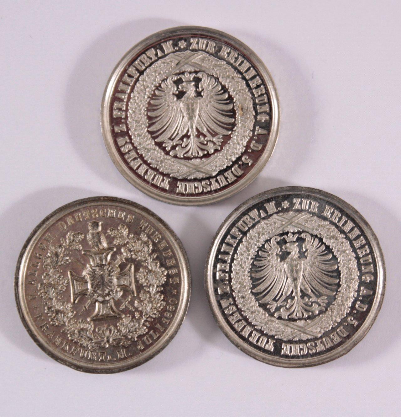 3 Medaillen Allgemeines Turnfest Frankfurt 1880-1