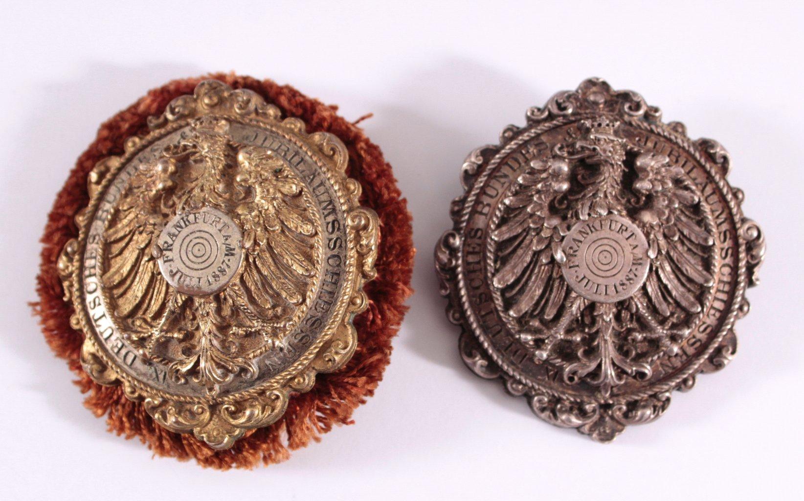 2 Abzeichen IX. Bundeschützenfest Frankfurt 1887