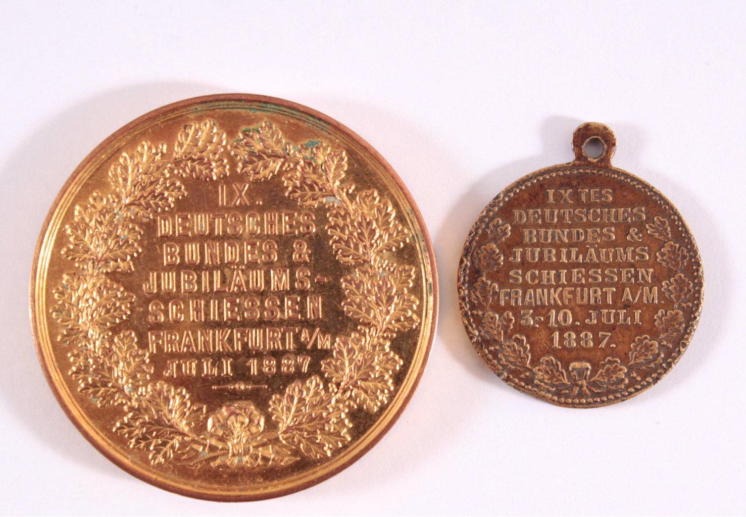 2 Medaillen IX. Bundeschützenfest Frankfurt 1887