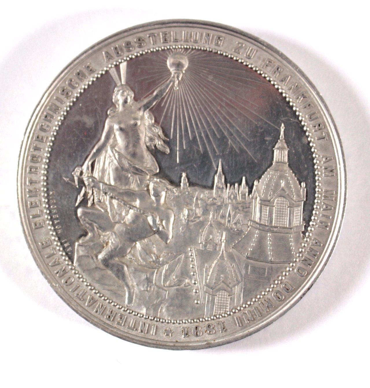 Aluminium Medaille Int. Elektrotechnische Ausstellung 1891