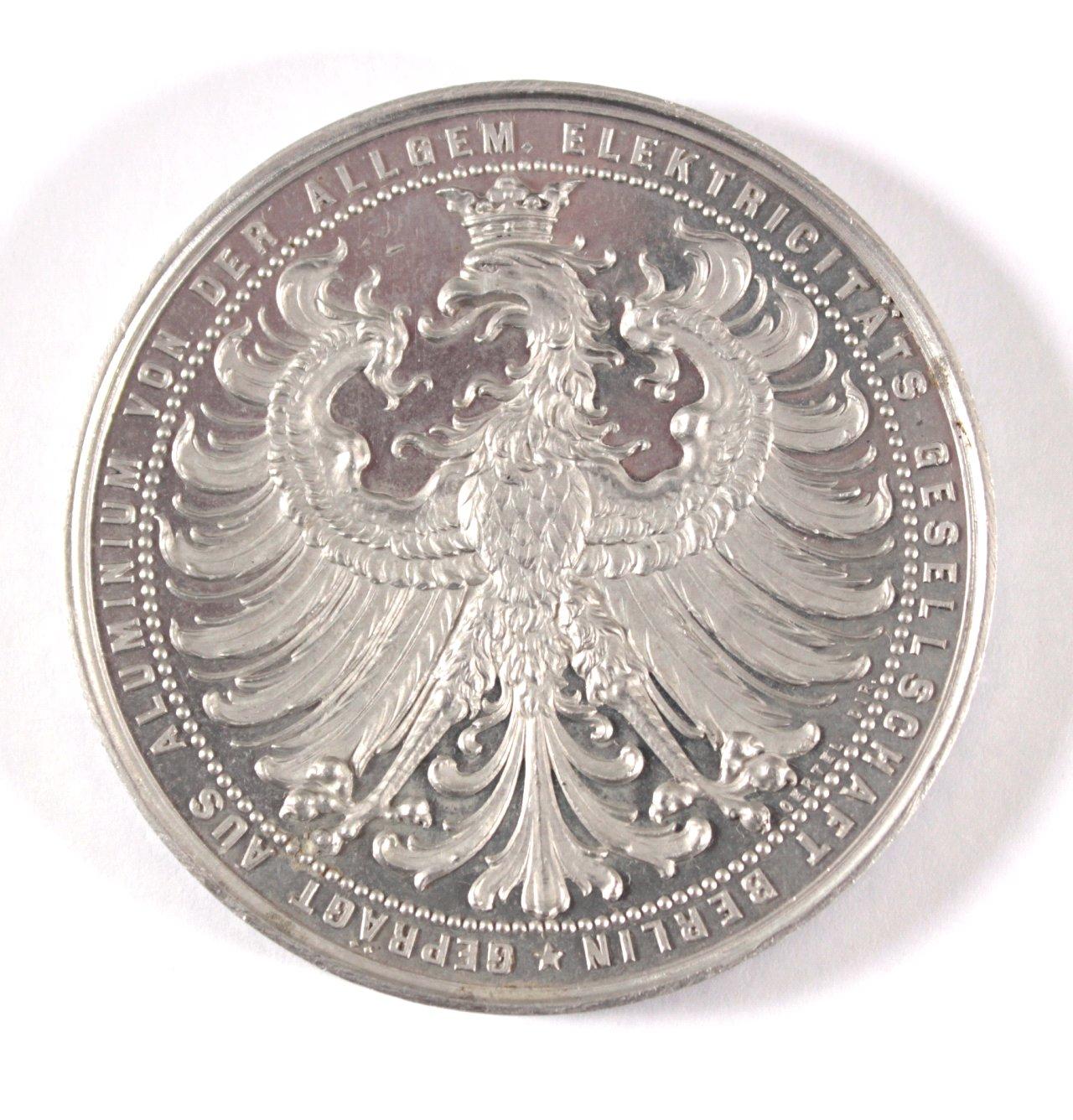 Aluminium Medaille Int. Elektrotechnische Ausstellung 1891-1