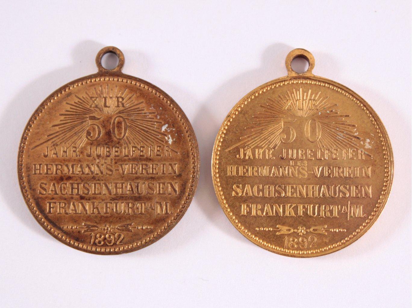 2 Medaillen 50 jährigen Feier, Herrmanns Verein, Frankfurt-1
