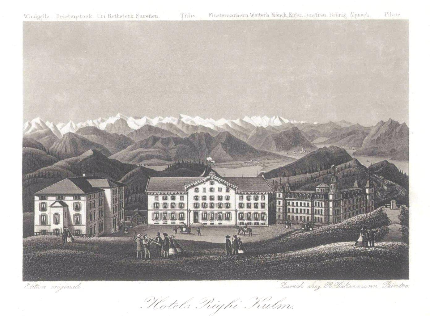 """""""Rigi/ Schweiz – Ansicht des Hotels Righi-Kulm mit Blick"""