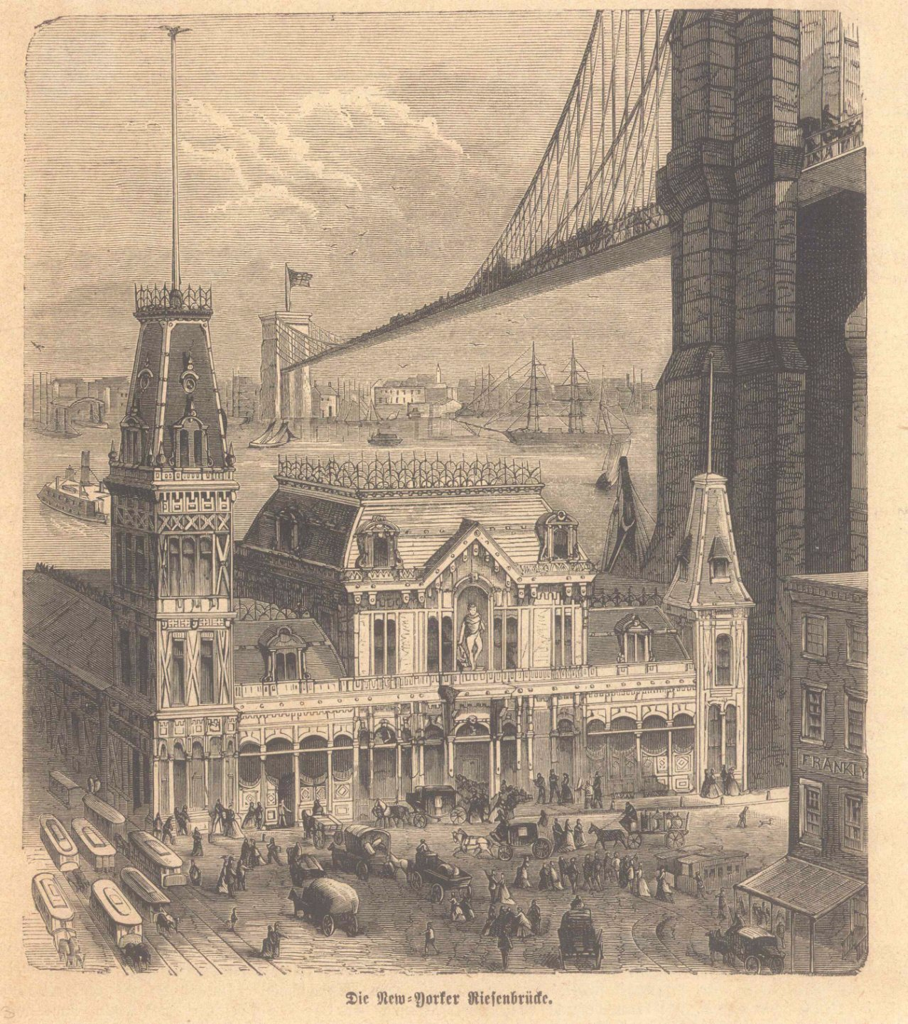 New York – 5 Holzstiche  um 1870