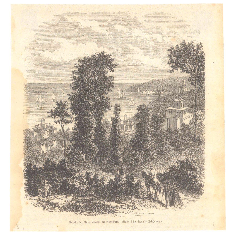New York – 5 Holzstiche  um 1870-1