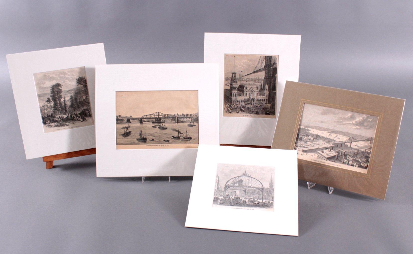 New York – 5 Holzstiche  um 1870-5