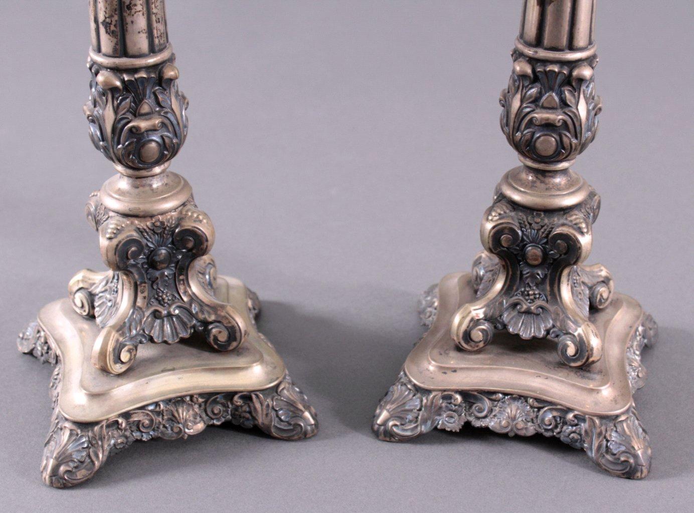 2 silberne Kerzenleuchter um 1900-1