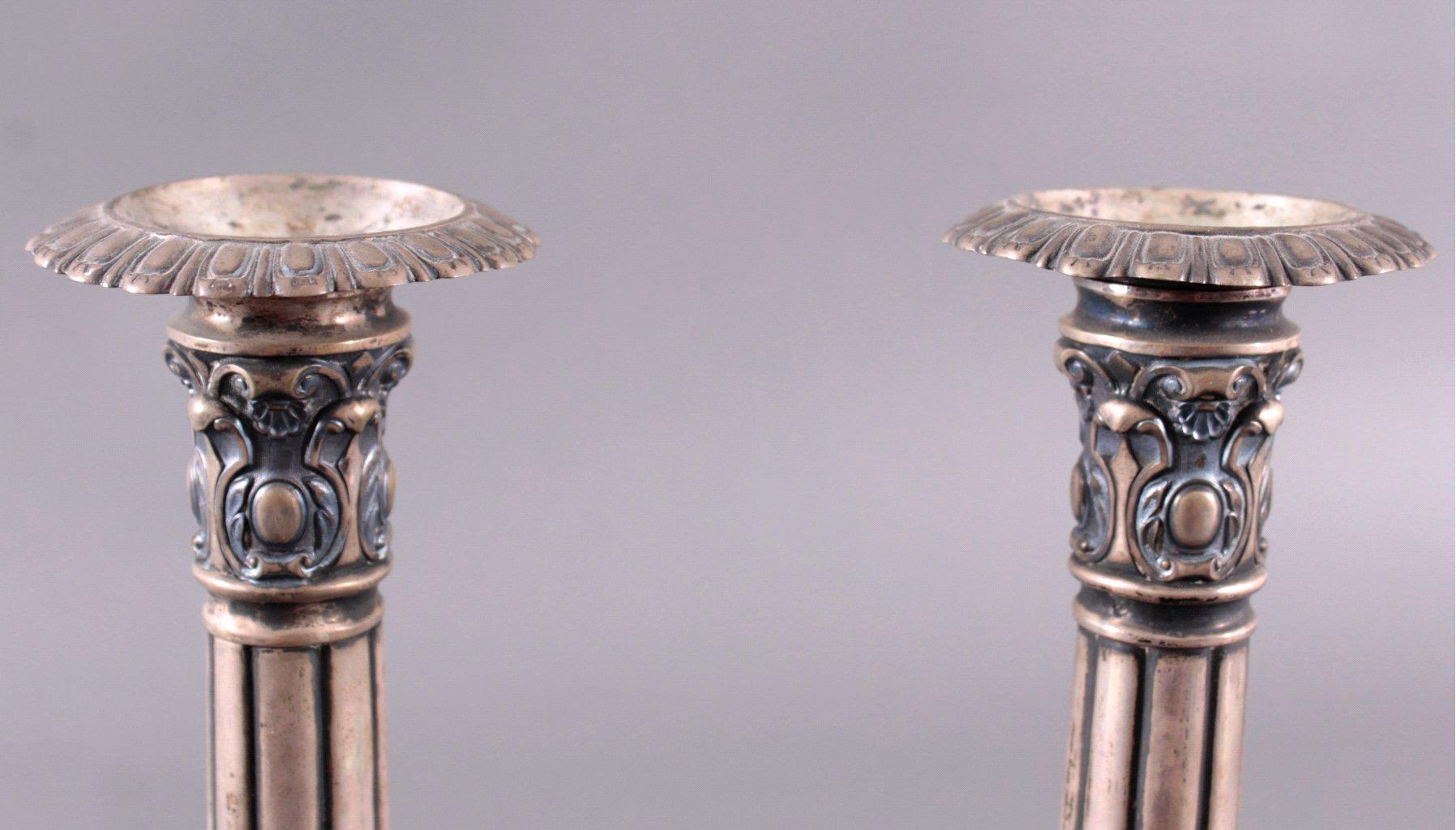 2 silberne Kerzenleuchter um 1900-2