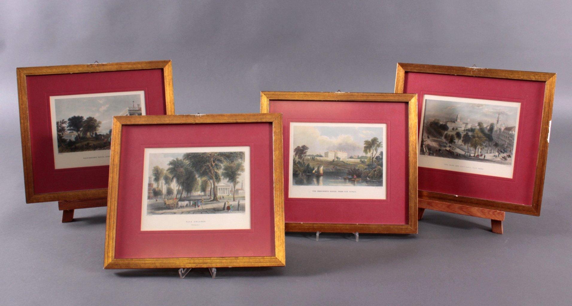 4 handkolorierte Kupferstiche nach William Bartlett