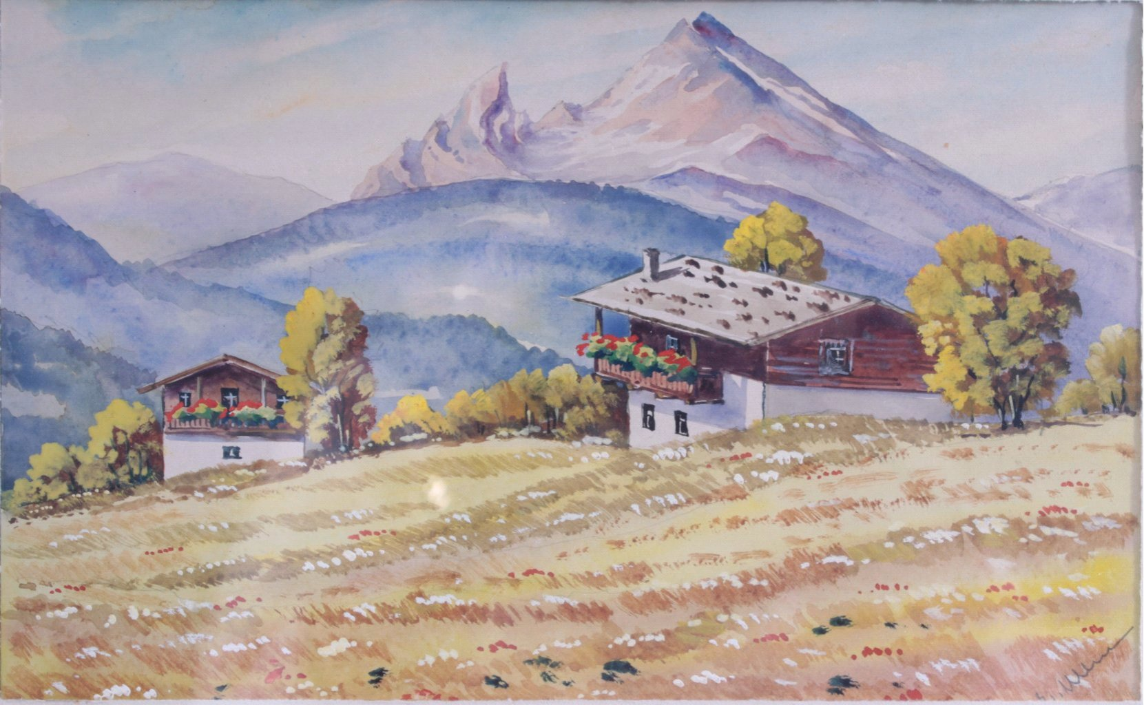 Aquarell, Berglandschaft mit Häuser