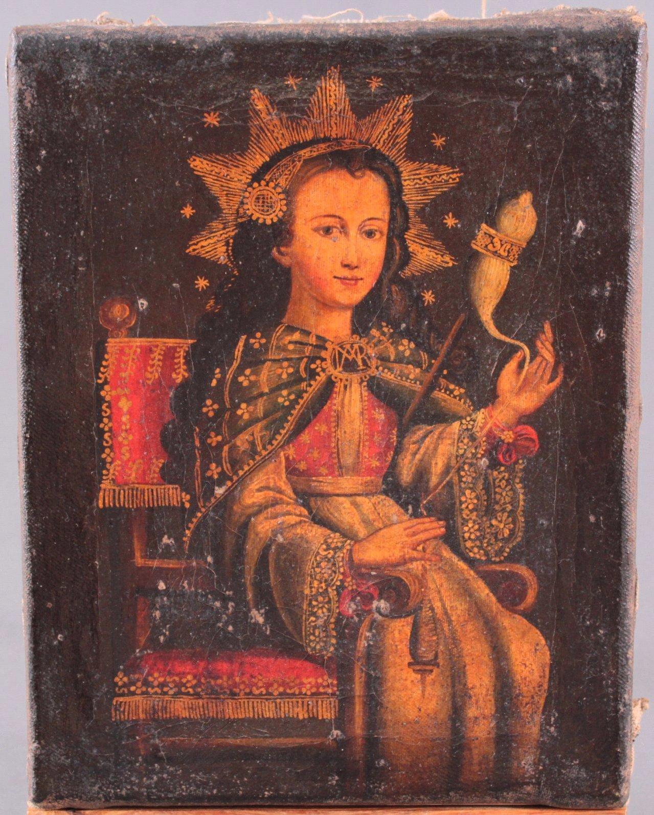 Künstler des 16./17. Jahrhundert. Jungfrau Maria mit Spindel