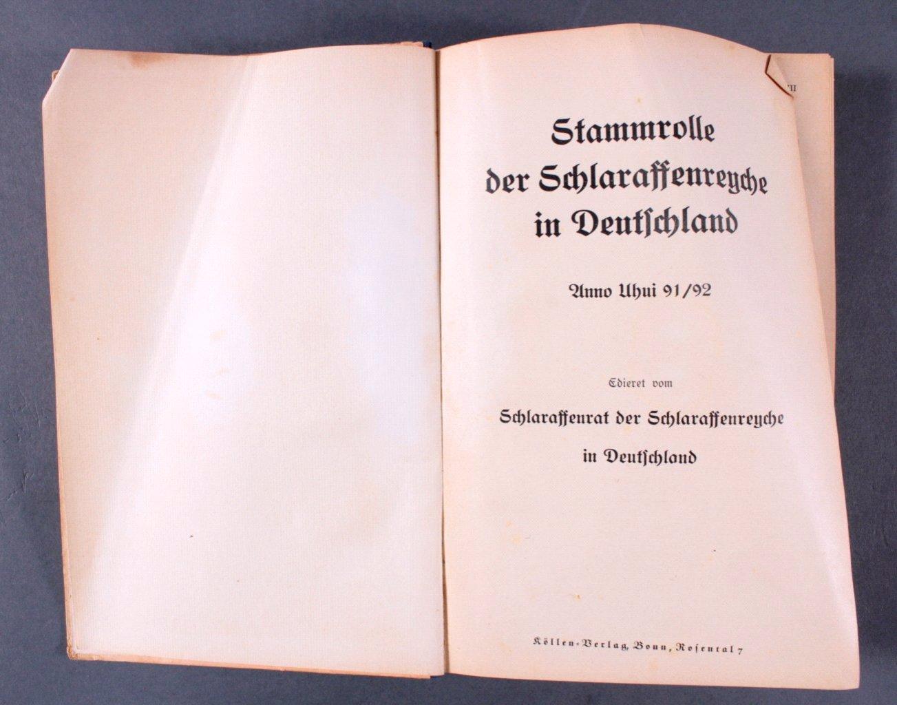 Stammrolle der Schlaraffenrenche in Deutschland a.U.91/92-1