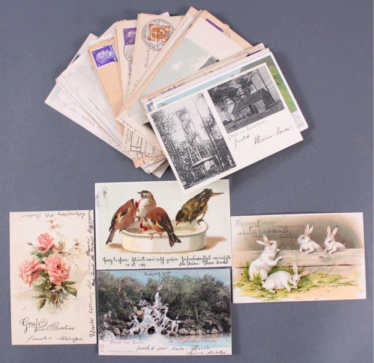 Konvolut Postkarten um 1900, Deutsches Reich