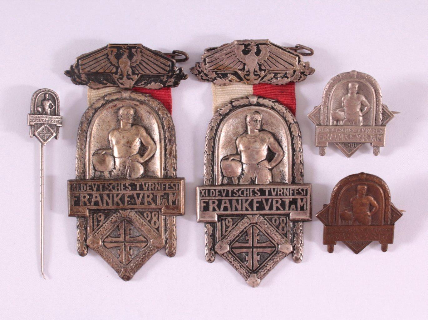 5 Abzeichen XI. Deutsches Turnfest Frankfurt 1908