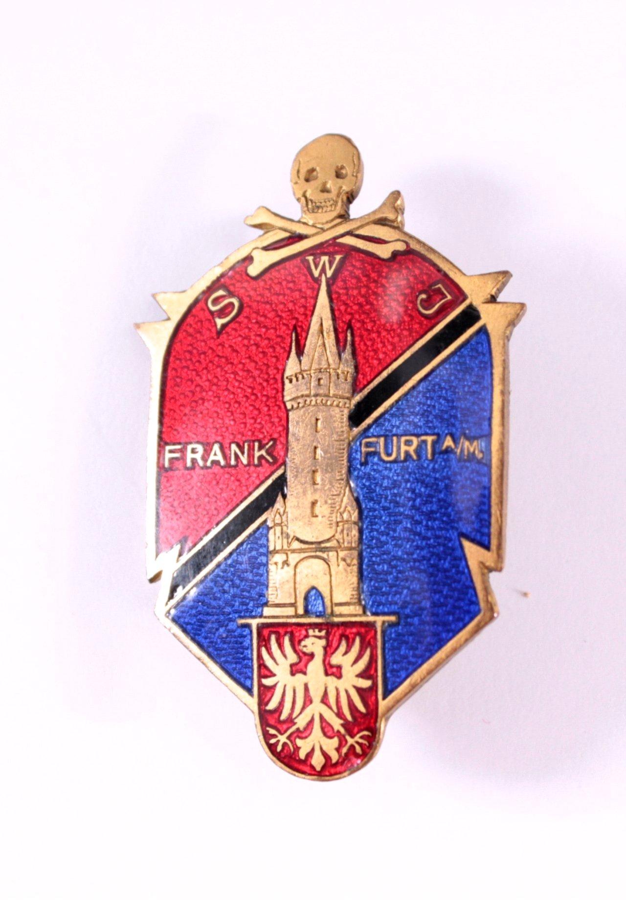 Anstecker SWJ Frankfurt mit Totenkopf