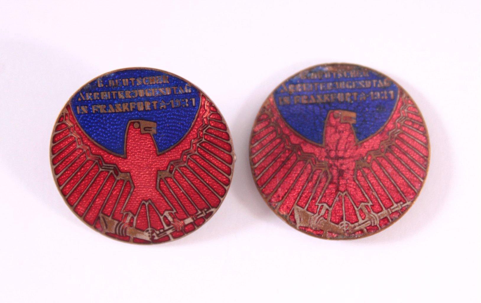 2 Abzeichen 6. Deutscher Arbeiterjugendtag Frankfurt 1931