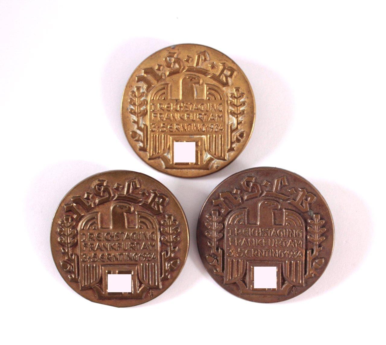 3 Abzeichen 1. NSLB Reichstagung 1934 Frankfurt