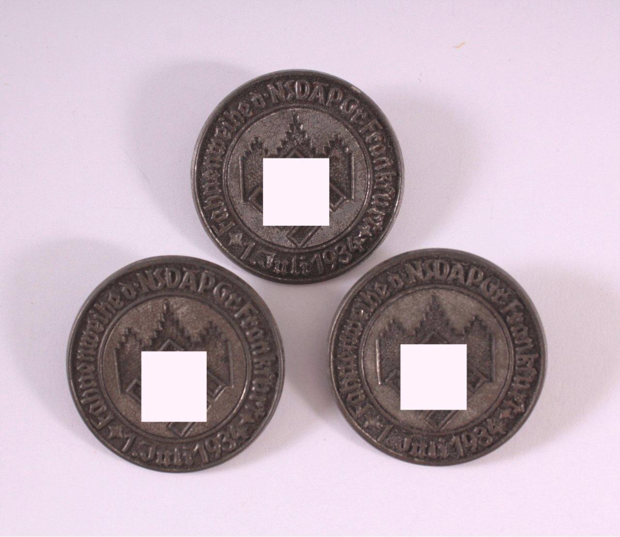 3x Abzeichen Fahnenweihe der NSDAP Frankfurt 1934