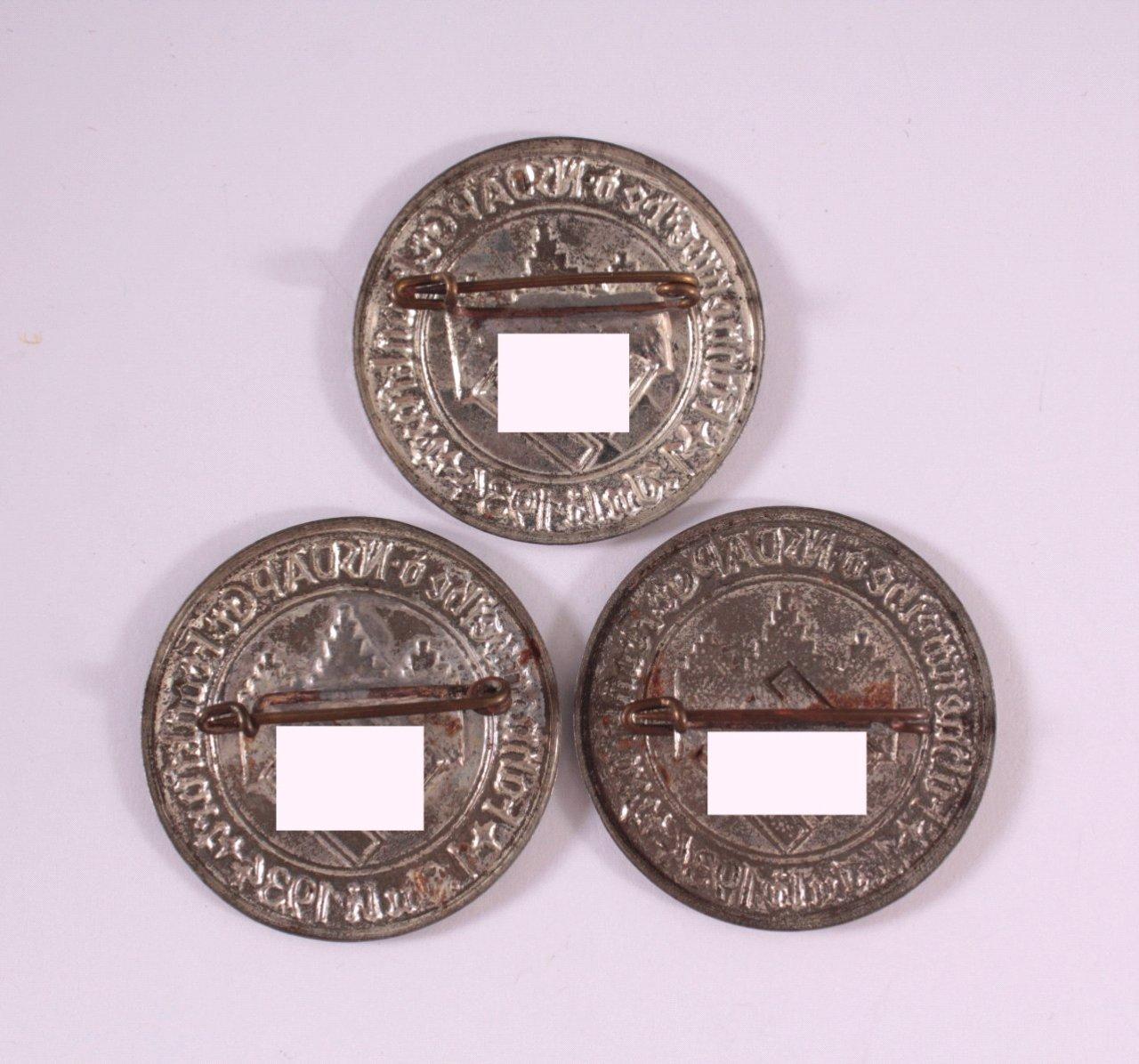 3x Abzeichen Fahnenweihe der NSDAP Frankfurt 1934-1
