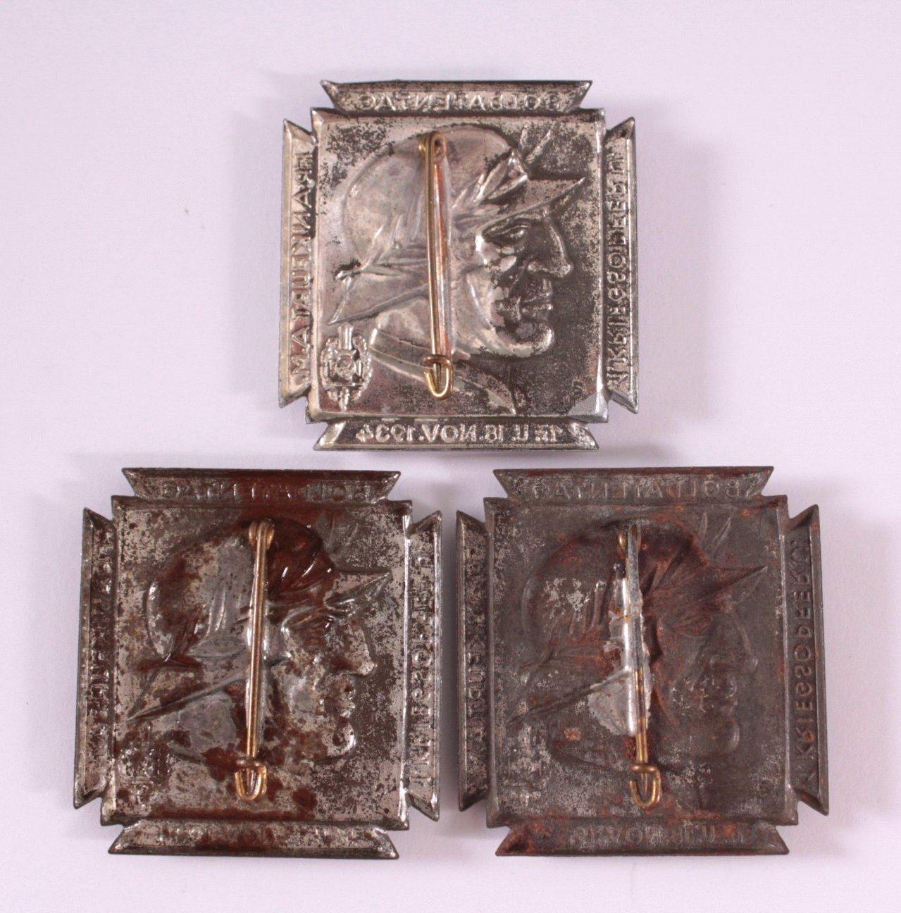 3 Abzeichen 1. Kriegsopfer- und Soldatentag 1934-1