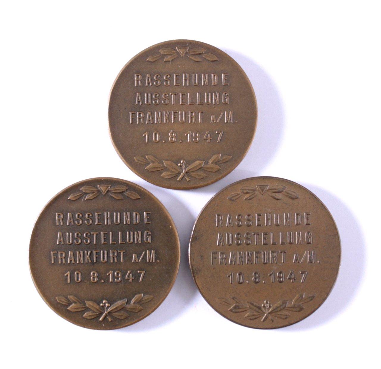 3 Medaillen Deutsche Rassehundeausstellung 1947 FFM-1