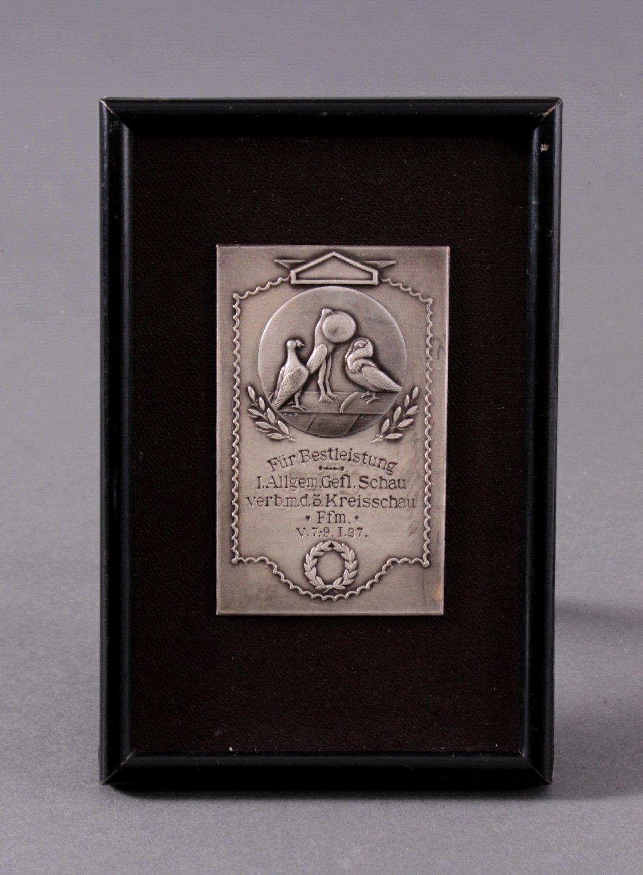 Plakette 1. Allgemeine Geflügelschau Frankfurt 1927