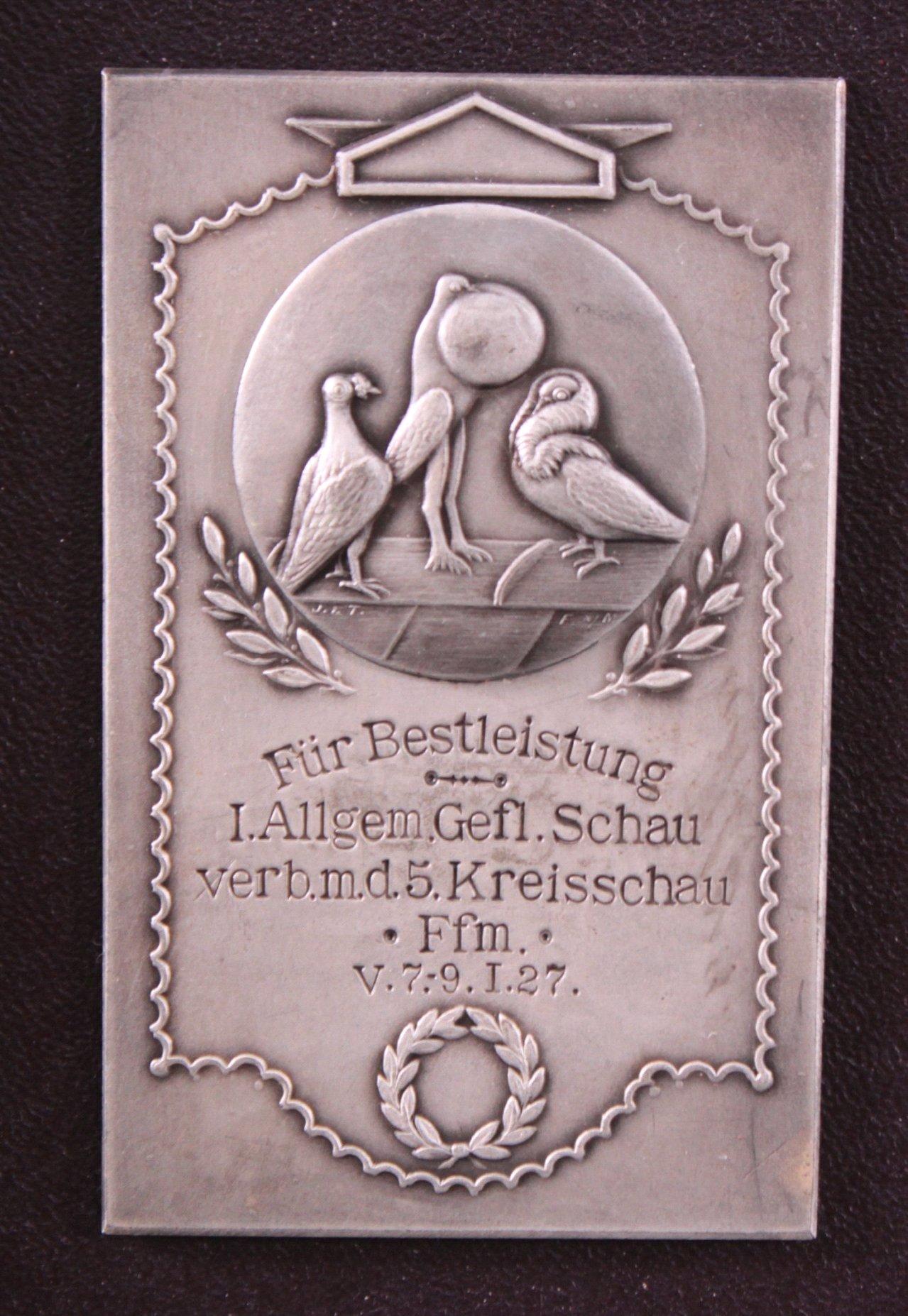 Plakette 1. Allgemeine Geflügelschau Frankfurt 1927-1