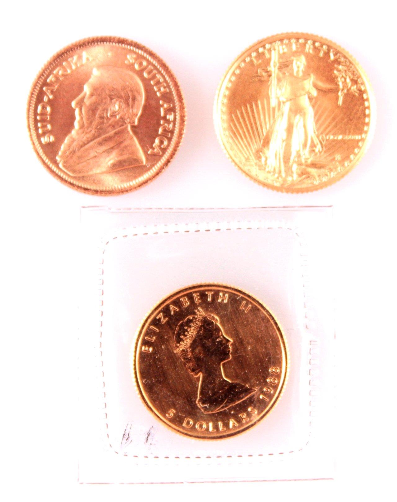 3 Goldmünzen je 1/10 Unze
