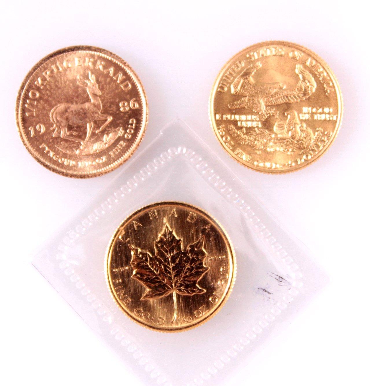 3 Goldmünzen je 1/10 Unze-1