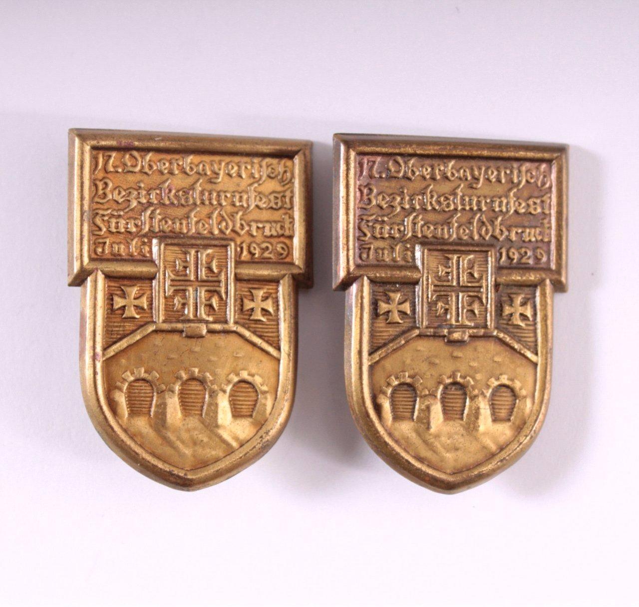 2 Abzeichen 17. Oberbayerisches Bezirksturnfest 1929