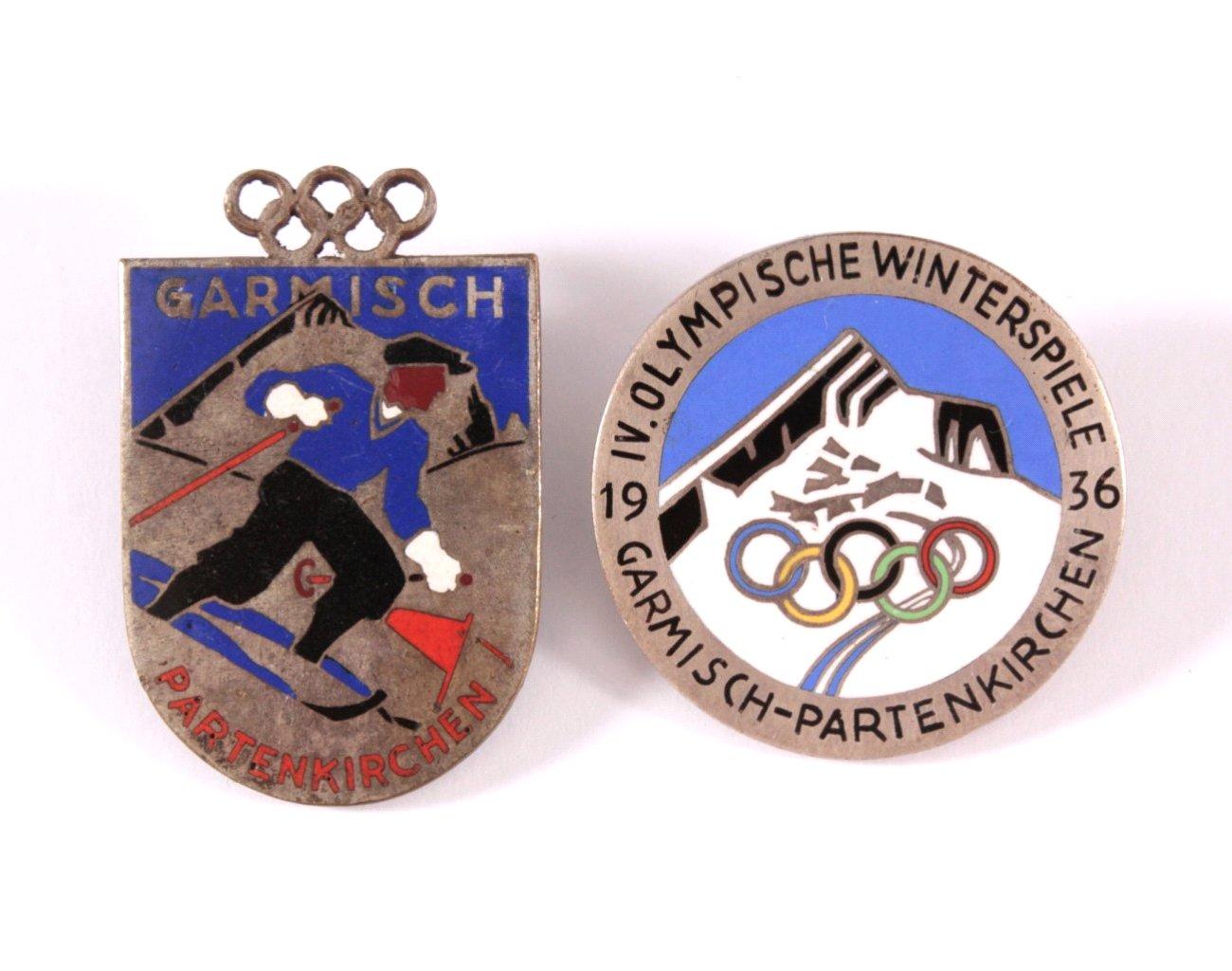 2 Anstecker Olympische Winterspiele 1936
