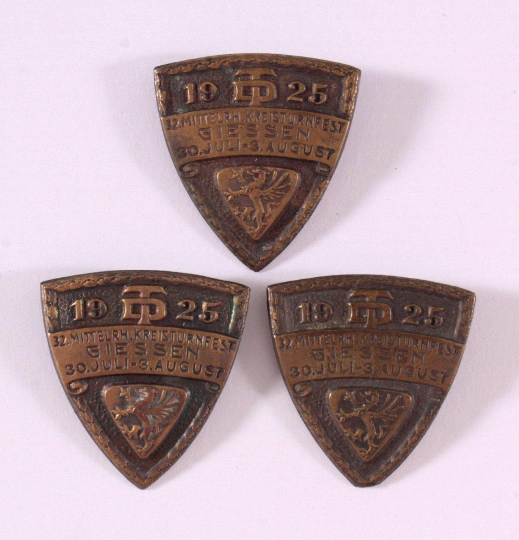 3 Abzeichen Mittelrheinisches Kreisturnfest Giessen 1925