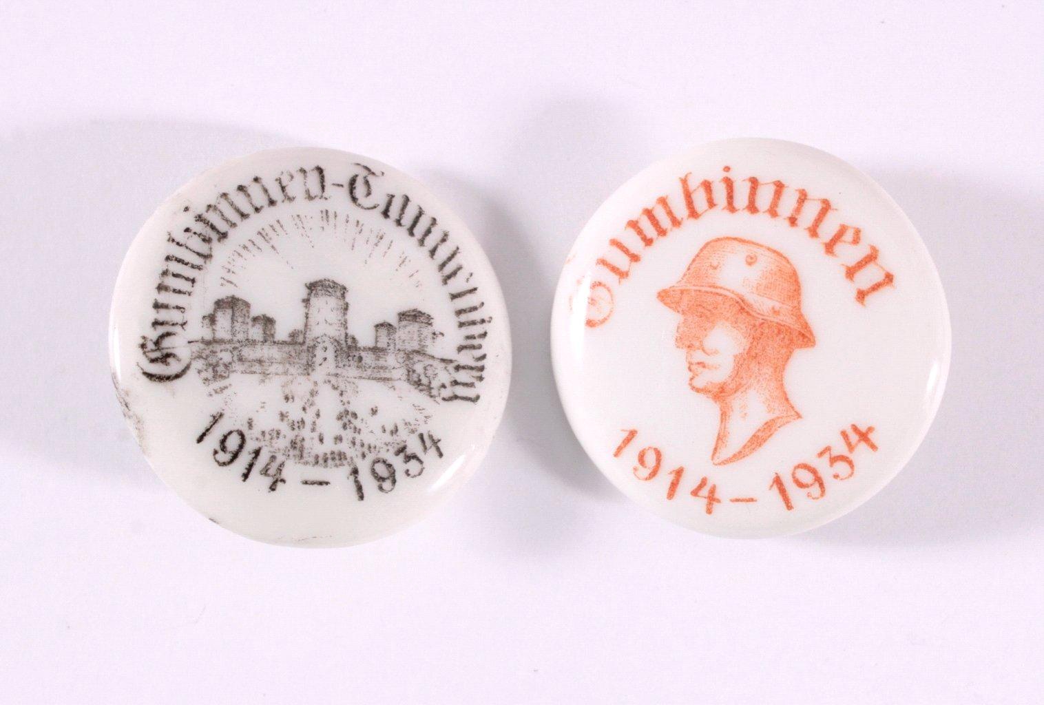 2 Porzellanabzeichen Gumbinnen 1914-1934