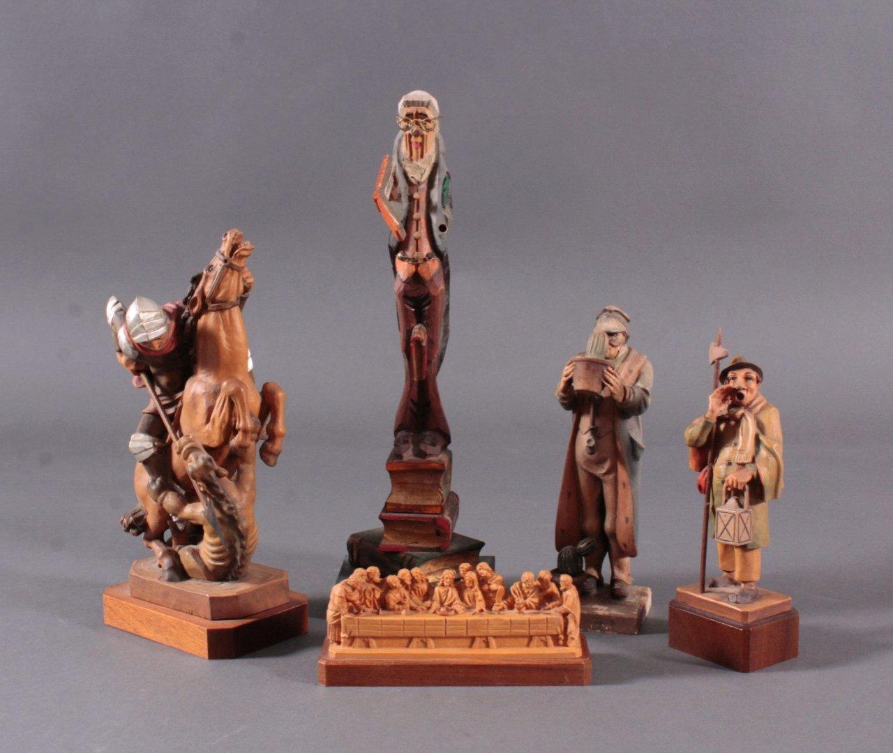 Fünf Holz-Skulpturen, 20. Jh.