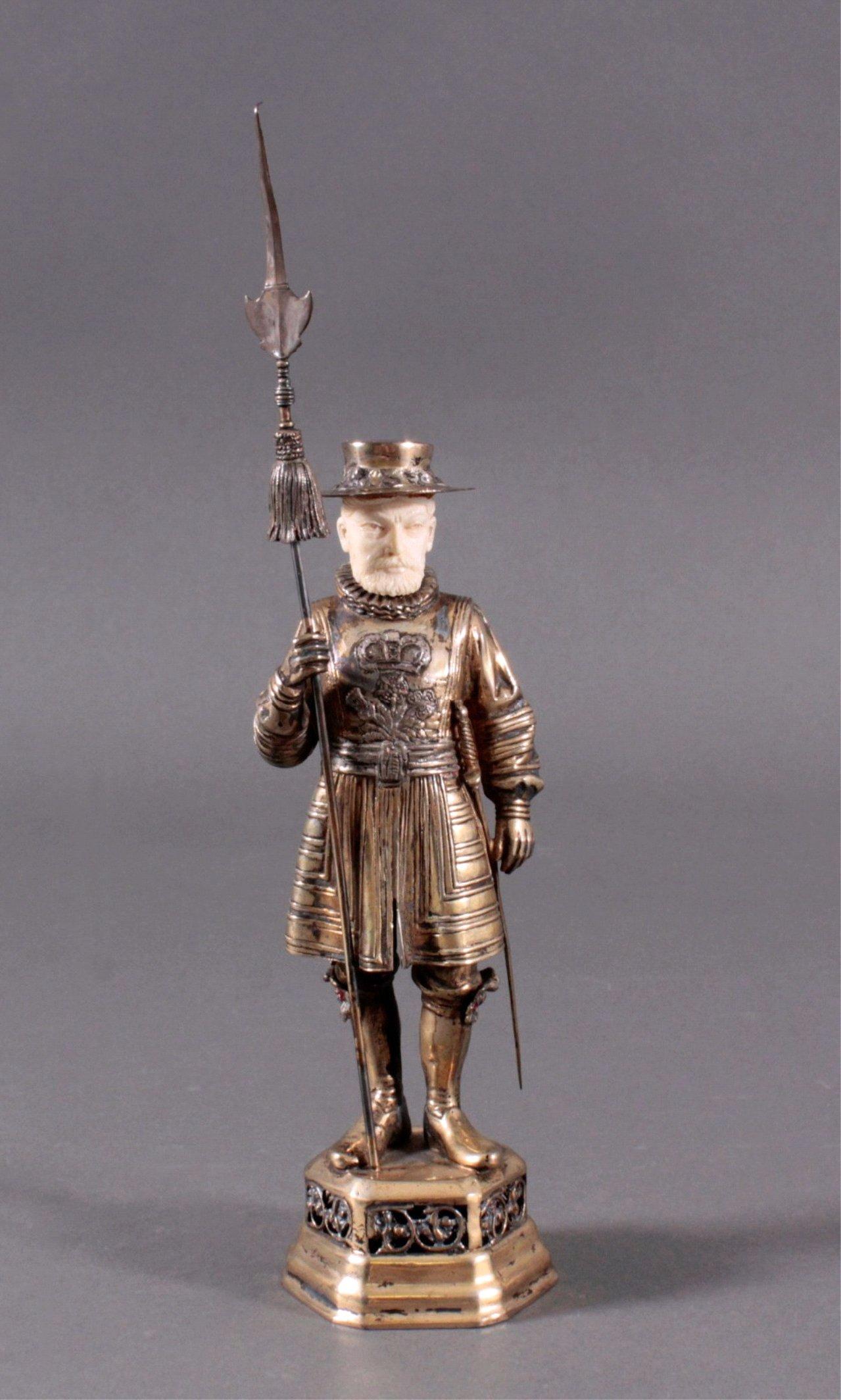 Historismus-Silber-Elfenbein-Figur