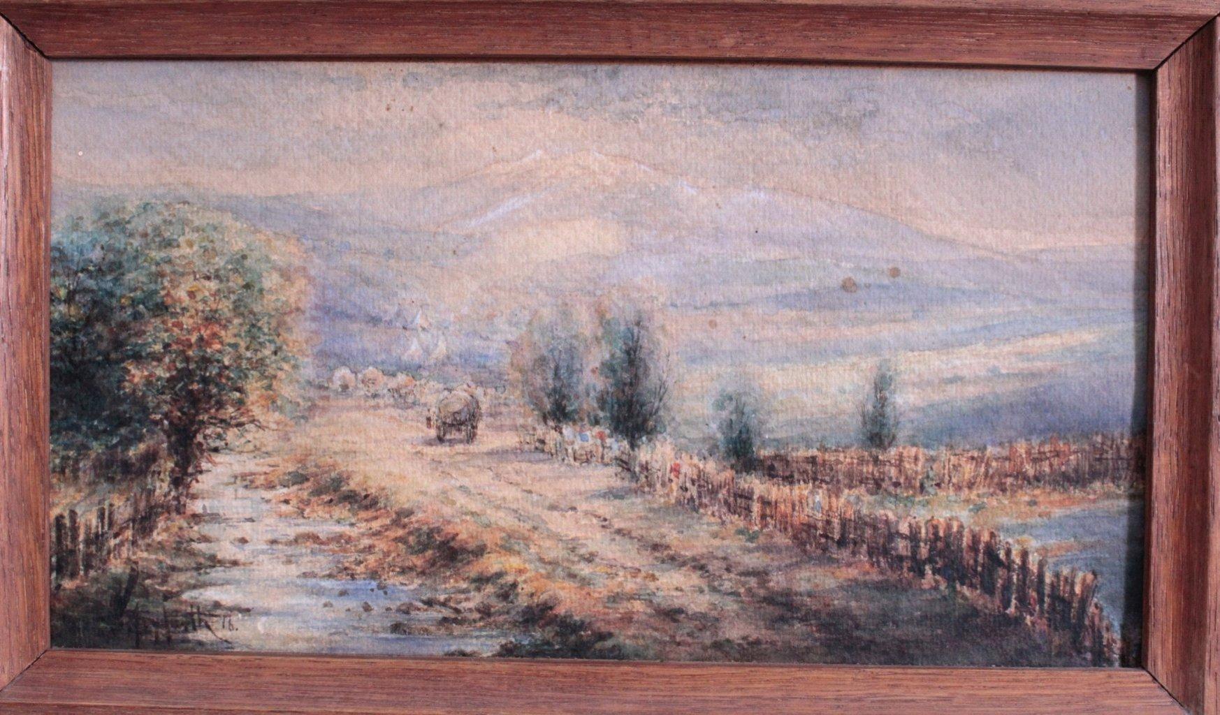 Zwei Landschaftsaquarelle von 1916