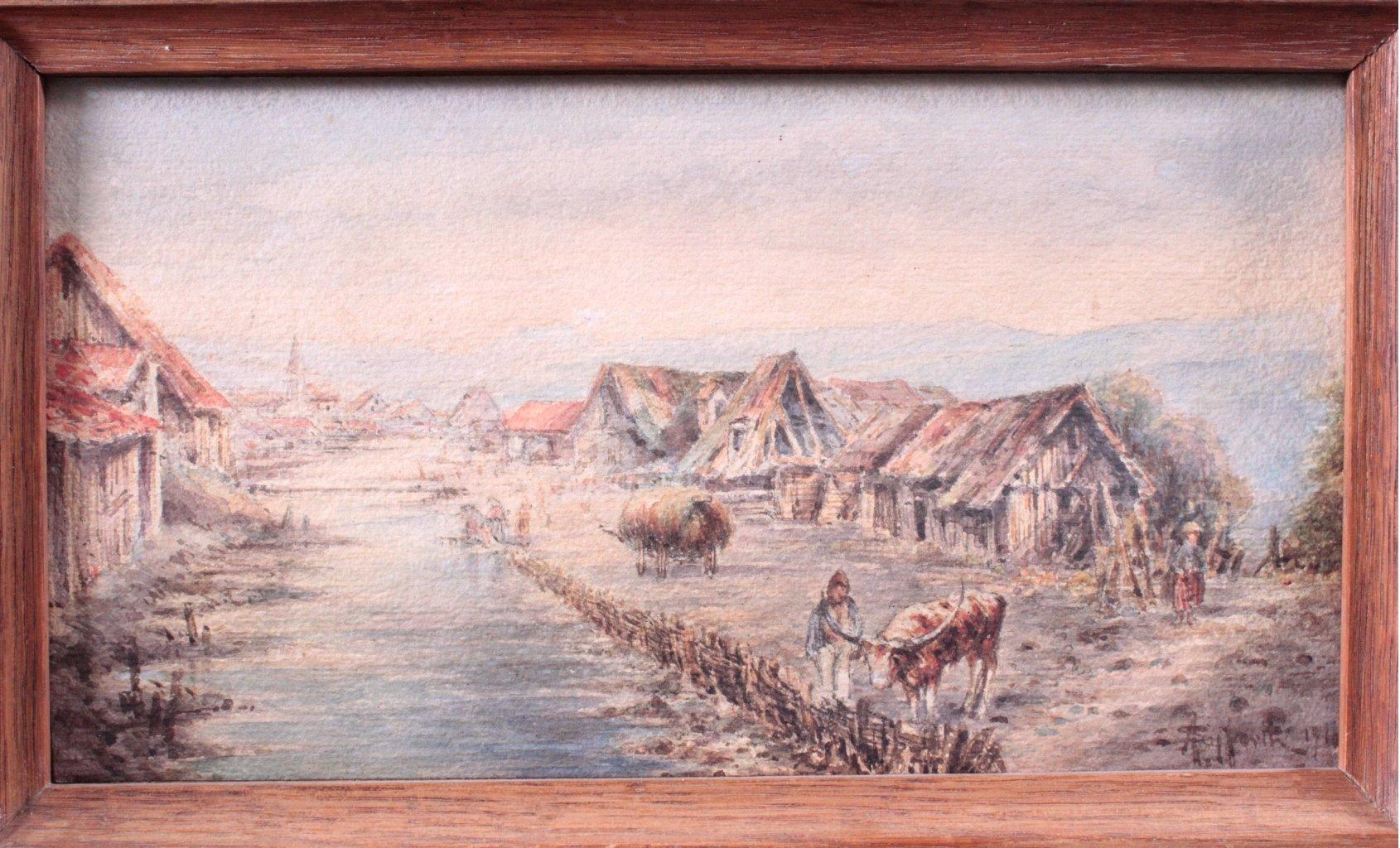 Zwei Landschaftsaquarelle von 1916-2