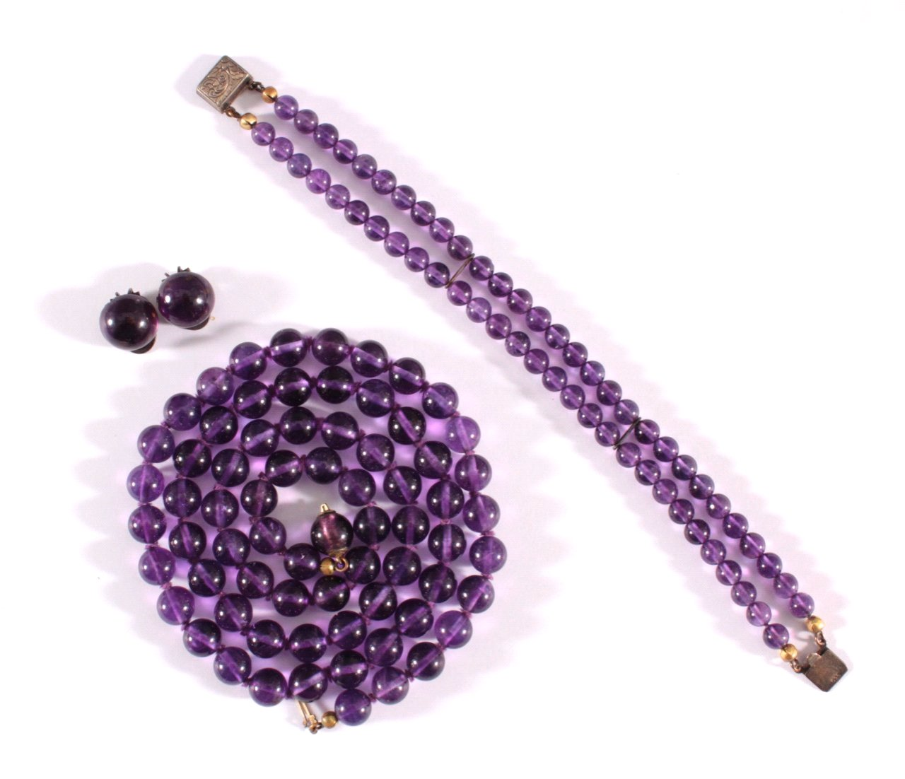 Halskette, Armband und Ohrclips aus Amethyst,