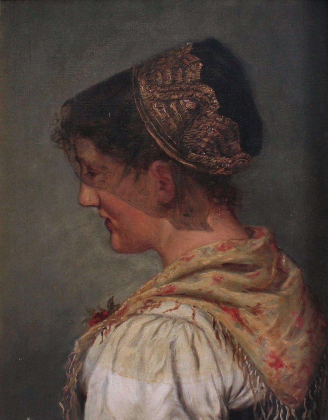 Portrait einer jungen Dame in Tracht um 1900
