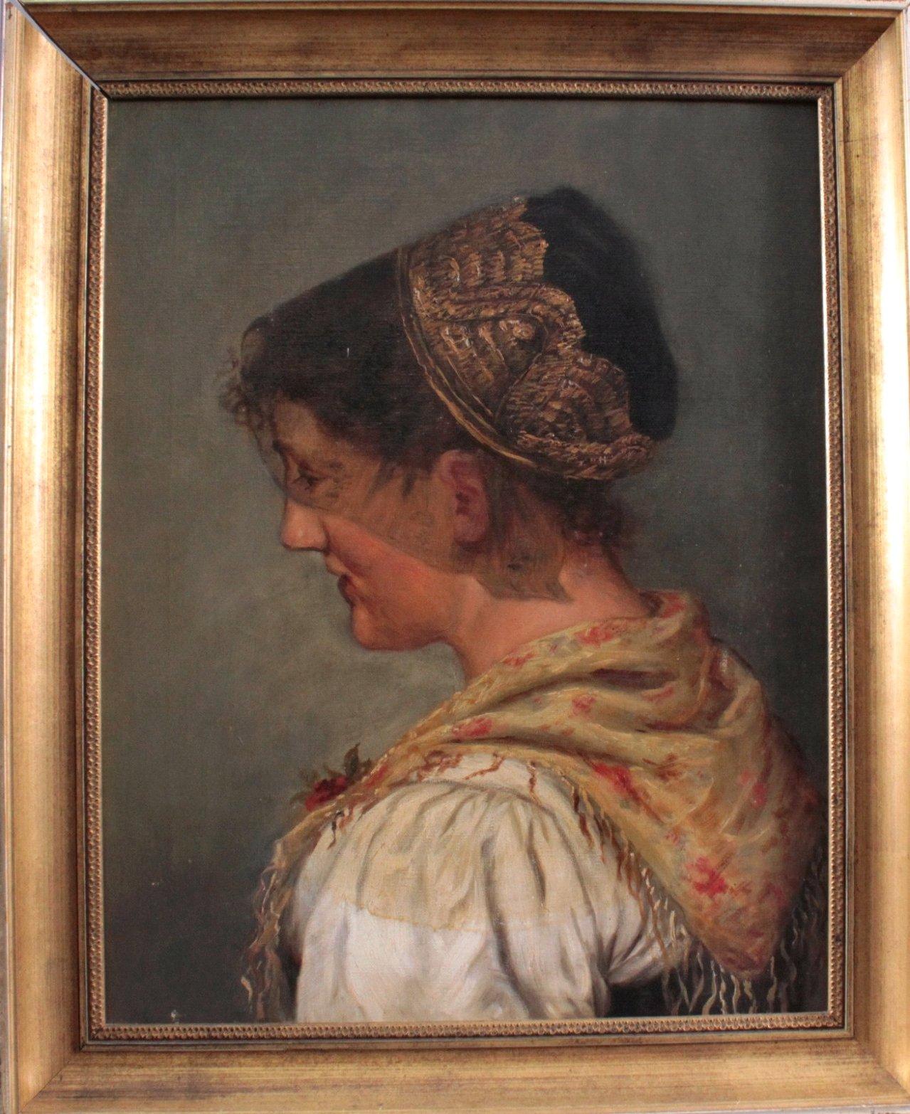Portrait einer jungen Dame in Tracht um 1900-1