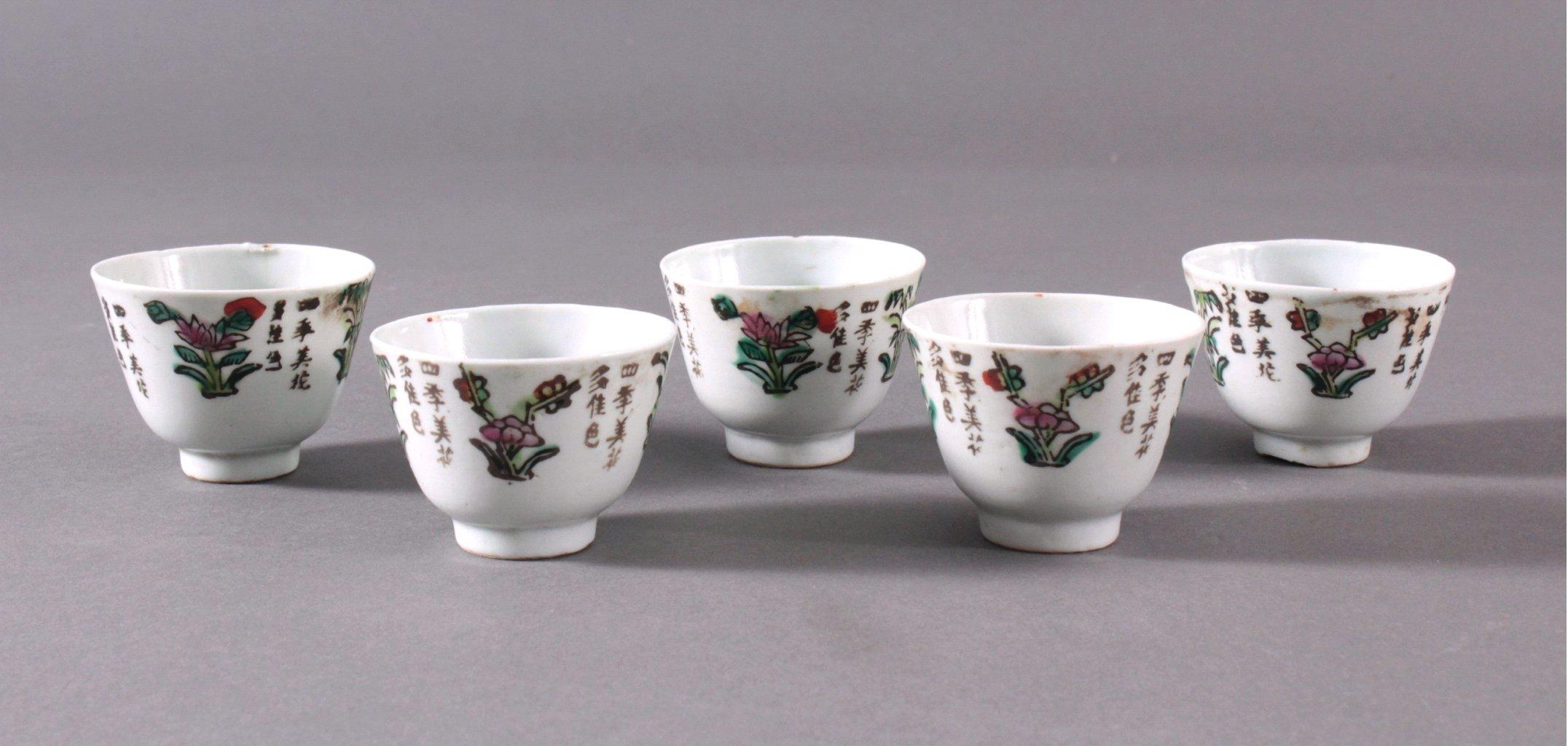 5 Sake Schalen um 1900
